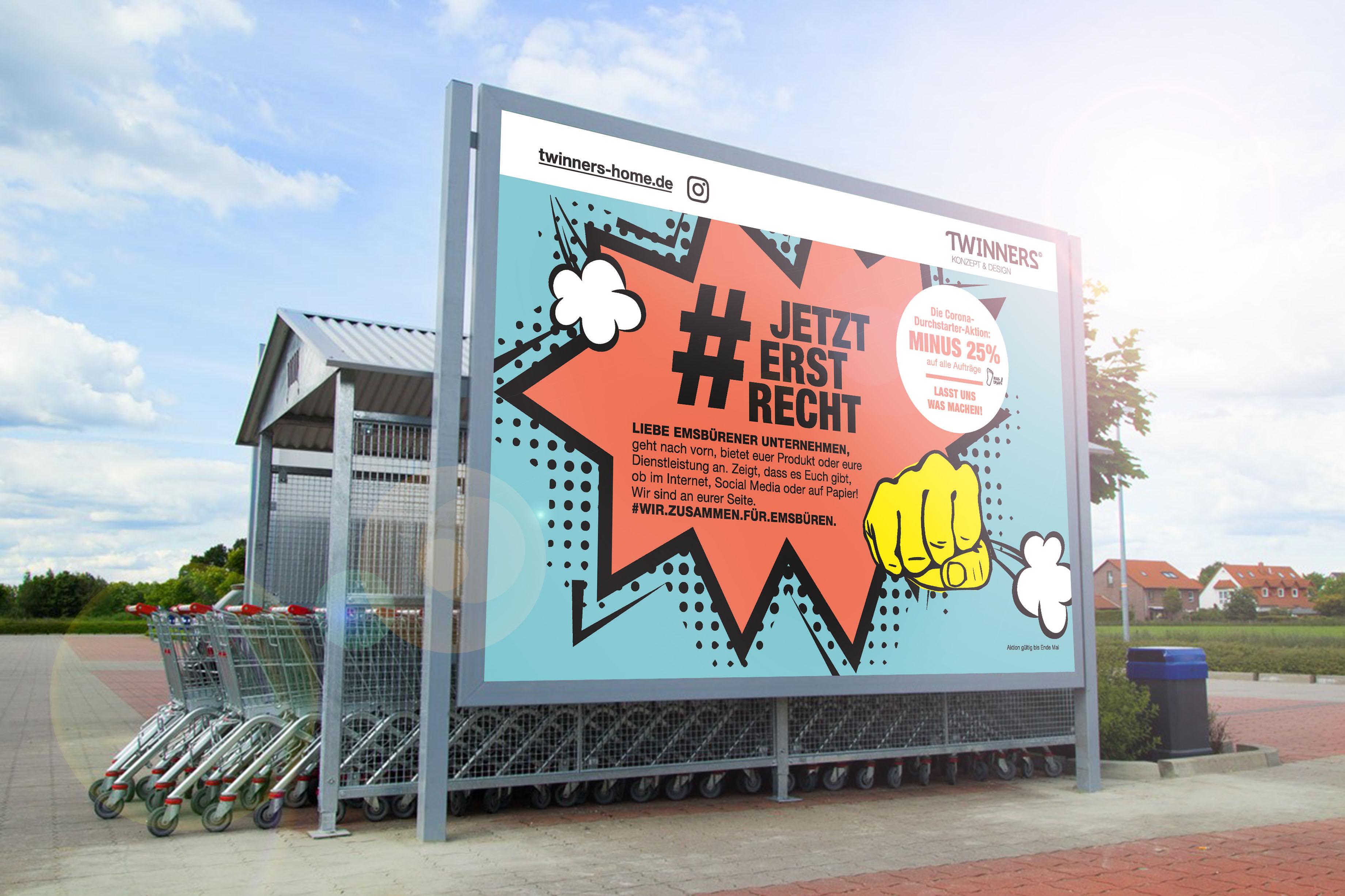 Corona Durchstartet Aktion TWINNERS Zwillingsagentur Werbeagentur Designagentur Design Werbung Konzept Emsbüren Plettenberg